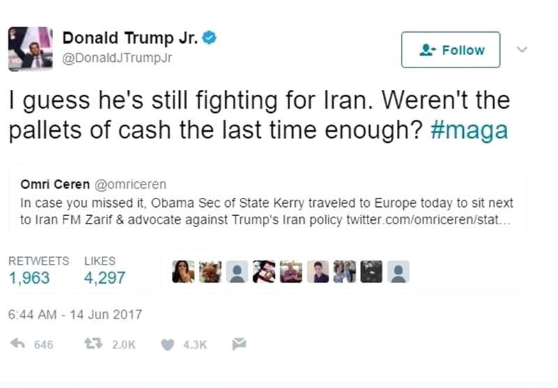 توئیت تند پسر ترامپ علیه جان کری:  تصور میکنم او هنوز دارد برای ایران میجنگد