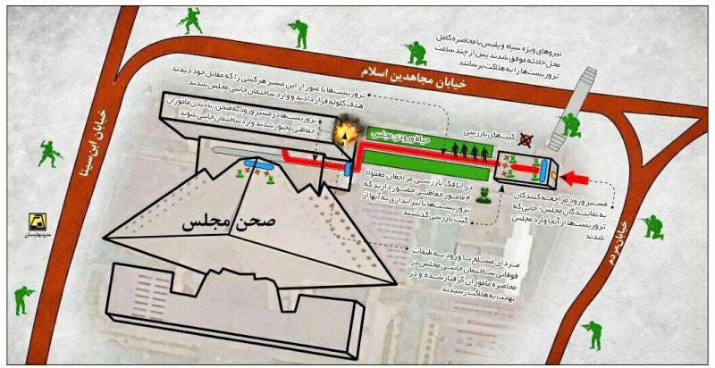 تروریستها از کجا وارد مجلس شدند +اینفوگرافیک